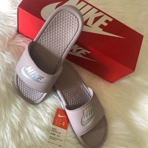 NEW Nike Slides Women 8 Metallic Silver Rose